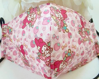 ONE to 3 day processing time! Strawberry gingham bunny character face mask protective covering