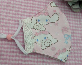 New! 1 to 3 day processing time! Cinna pup lace bow character face mask protective covering