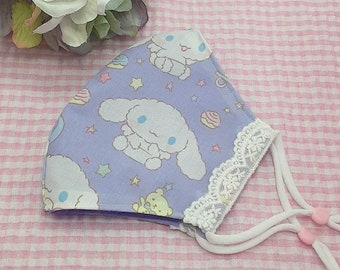 ONE to 3 day processing time! kawaii characters cinna lace trim character face mask protective covering