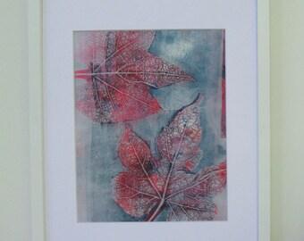 11x 14 Original Lino print One of a kind Botanical garden series #29 by Farnoosh Ahmadi shirazi Fine art print making Matted