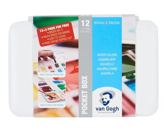 Van Gogh Watercolour - Water Colour Pocket Box Basic Colours with 12 Colours in Half Pans + 3 Colours for Free + Brush Royal Talens Van Gogh