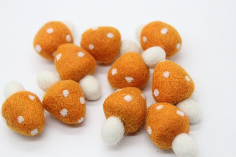 Orange Wool Felt MushroomsToadstools Each Measures Approx 4.5cm-5cm Sold Individually