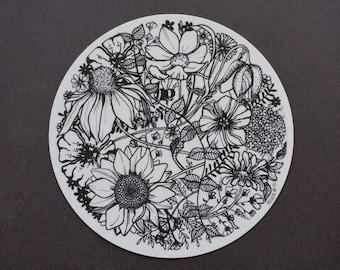 "Vinyl Flower Sticker, 4.5"", Weather Resistant and Durable, Outdoor Sticker, Beehive Art Co"