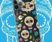 Apple iPhone Case Skulls Phone Case iPhone Cover Dia de los Muertos Day of the Dead Theme Skulls Cat Bird Flowers Free Shipping