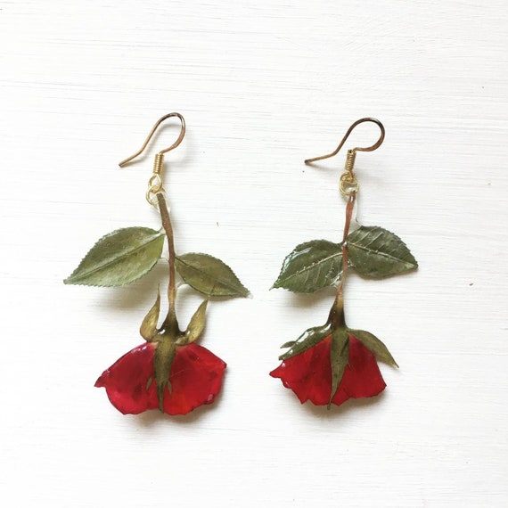 Valentine/'s Day Gift-Rose Earring,Pressed Flower Jewelry,Flower Jewelry,Real Flower Earring,Nature Jewelry,Resin Earrings,Flower Earrings