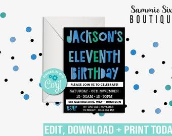 11th BIRTHDAY INVITATION - Typography Invitation - Blue, Green, Teal Invitation - Eleventh Birthday Invitation - Digital File Only- Corjl