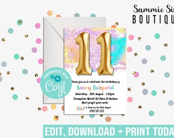 11TH BIRTHDAY INVITATION - Balloon Invitation - Rainbow Invitation - 11 Balloon Invitation - Digital File Only - Corjl