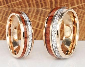 Match His and Hers Meteorite Koa Wood Rose Gold Tungsten Wedding Ring Wedding Set Rose Gold Wedding Ring Set Anniversary Tungsten Wedding