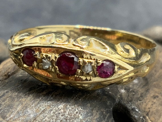 Antique 18ct Gold Ruby Diamond Ring, Size O1/2