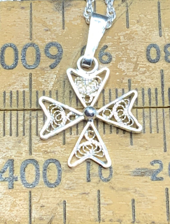 #MALTESE-XP3 Vintage Maltese Cross Sterling Silver Pendant FREE SHIPPING 18 Sterling Silver Chain Included