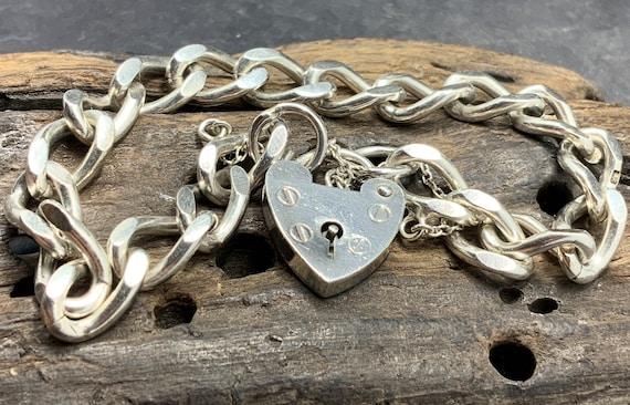 Sterling Silver Vintage Large Chunky Heavy Albert Charm Bracelet With Heart Padlock