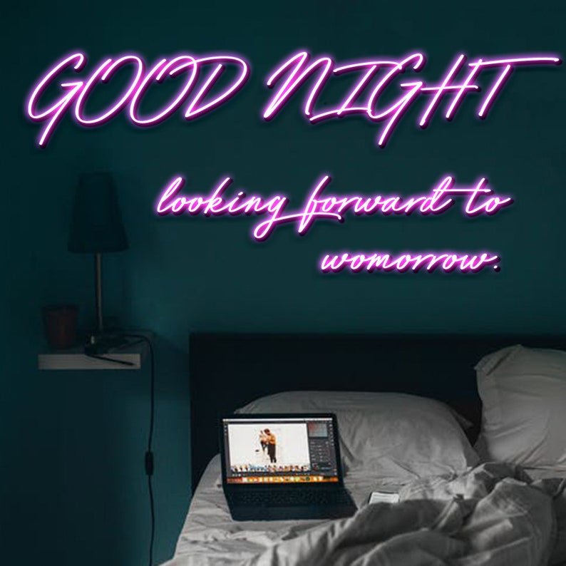 /'GOOD NIGHT Small Neon Light Sign for Wall Neon Light Custom Looking Forward to Tomorrow/' Red Neon Lights for Bedroom