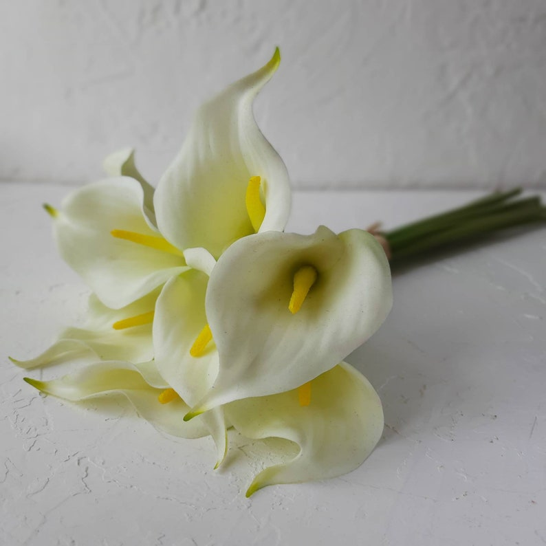 White calla lily bouquet Fake bouquet wedding Bouquet of 9 flowers