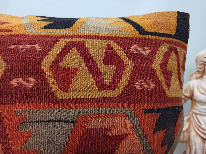 16x16 Vintage Pillow Case  Bohemian Kilim Pillow  Accent Kilim Lumbar  Boho Sham Cover  Decorative Turkish Kilim Pillow AK00330