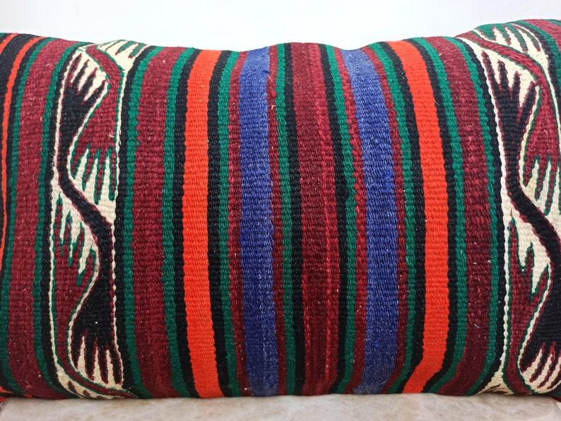 Tribal Pillow Kilim Cushion Cover LP00145 Decorative 16 x 25 Home Decor Armchair Pillow Boho Pillow Kilim Lumbar Turkish Pillow