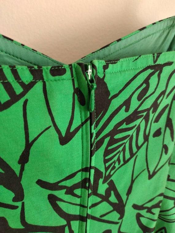 Vintage 80s Designer Dress/ Summer/ Floral Green … - image 5