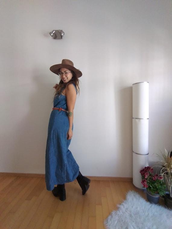 90s Denim Dress, Button Down Dress, Jean Dress, Lo