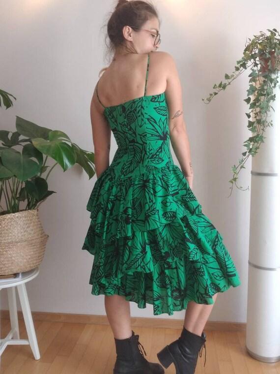 Vintage 80s Designer Dress/ Summer/ Floral Green … - image 4