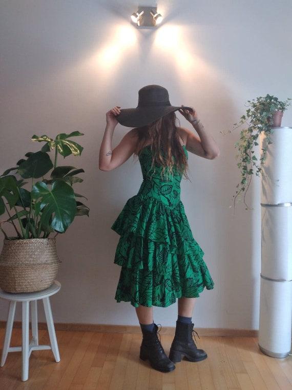 Vintage 80s Designer Dress/ Summer/ Floral Green … - image 3