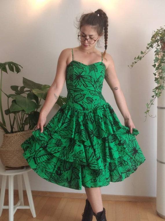 Vintage 80s Designer Dress/ Summer/ Floral Green … - image 1