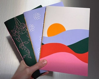 A5 Handmade Notebooks | choice of 6 illustrated covers, 44 blank sheets inside