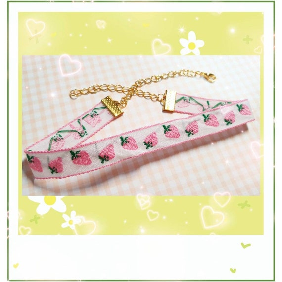 Kawaii Strawberry Lace Choker Necklace Cottagecore Jewelry Soft girl Aesthetic Fairycore Accessories Lolita Aesthetic Anime Necklace