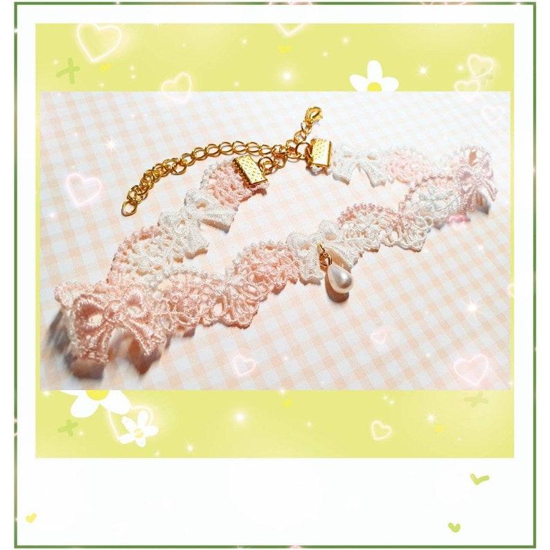 Kawaii Pastel Pink Pendant Lace Choker Necklace Cottagecore Jewelry Soft girl Aesthetic Fairycore Accessories Lolita Aesthetic