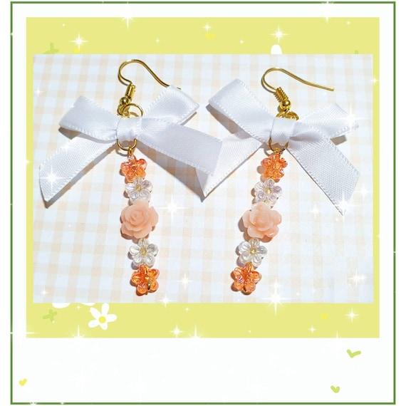 LovelyRita Tassel tase earrings Fower Power hand-painted wooden beads faceted glass beads ros\u00e8gold metal beads nickel-free