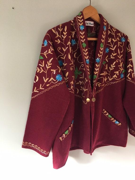 Burgundy wool folk style embroidered jacket