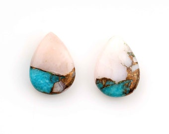 Copper Turquoise-Pink Opal Smooth Marquises Briolettes 8 Pieces Copper Turquoise-Pink Opal Marquise Briolettes JSE70 8*16mm Approx