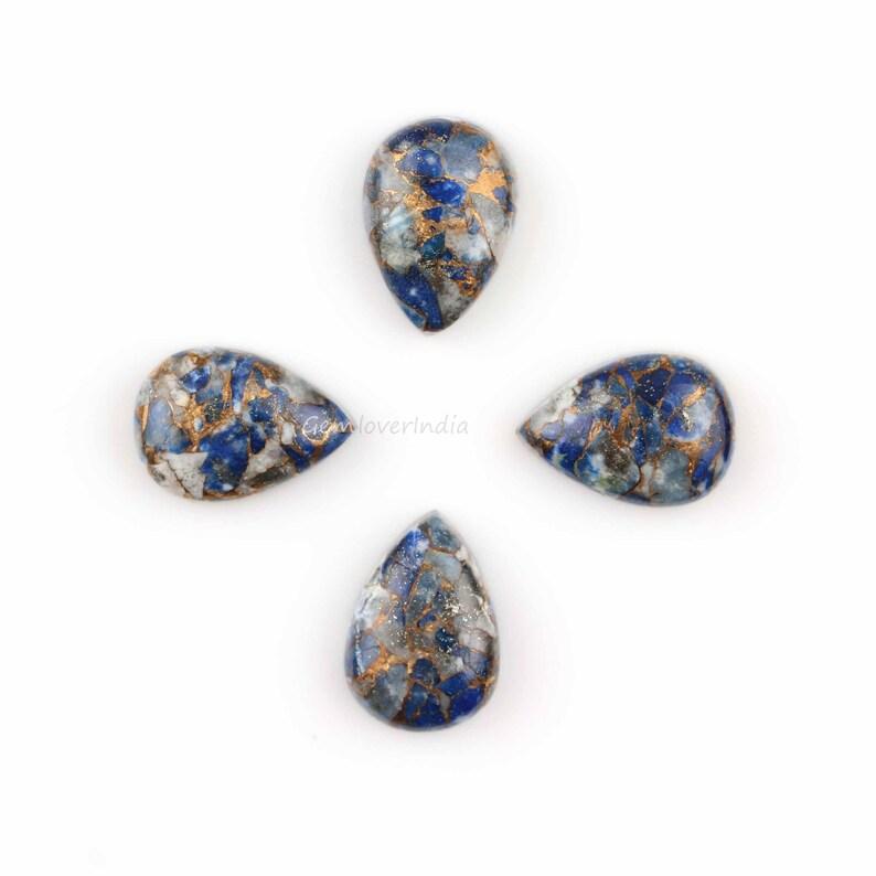 Copper Lapis 15x20mm Pear Shape Cabochon 4 Pcs Lapis Copper Cabochon Wholesale Gemstone for Making Jewelry 6x8mm