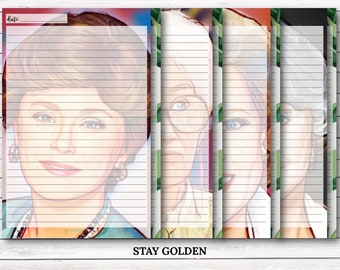 Stay Golden | Golden Girls Inspired Themed Notepad | (1) 32 page tear-off notepad | 8 different page designs | 5.5in x 8.5in