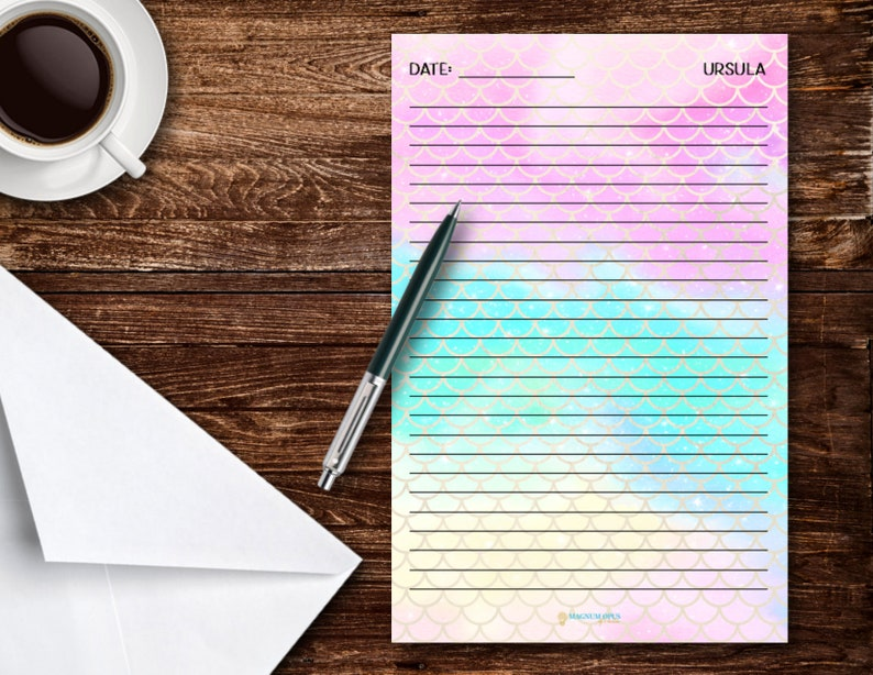 1 The Ursula Mermaid Theme Notepad | 5.5in x 8.5in 30 page tear-off notepad