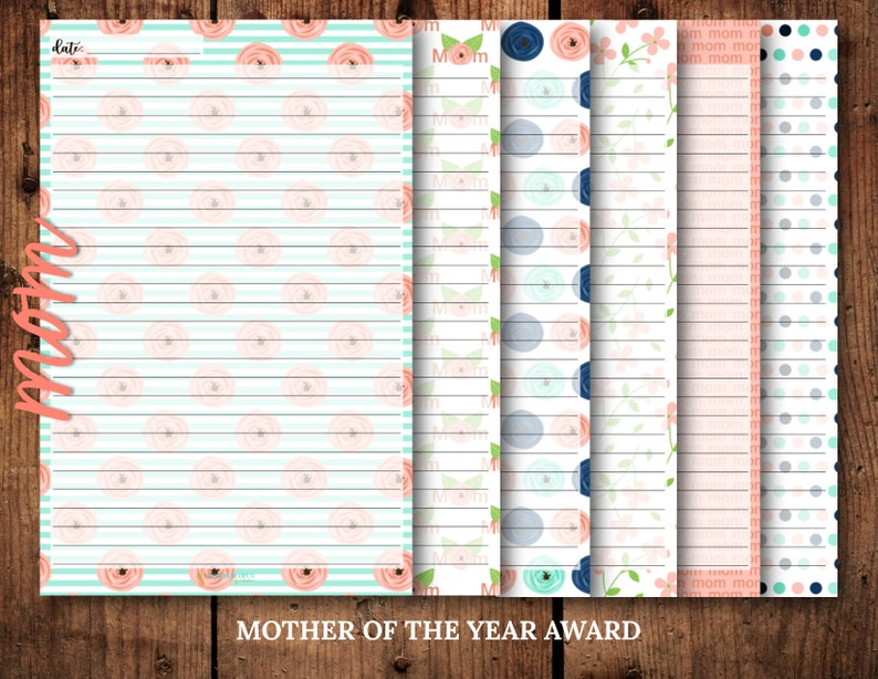 Mother of the Year Award 30 page tear-off notepad 6 different page designs 5.5in x 8.5in Mom Theme Notepad | 1
