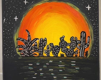 Acrylic painting on canvas - Life is short, cactiles are growing