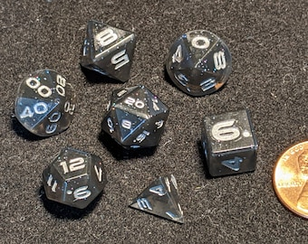 Midnight Transparent Black 10mm-12mm Mini Edged Polyhedral Dungeons and Dragons Dice Set