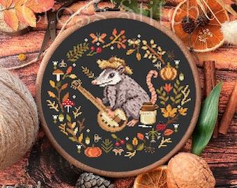 Possum cross stitch pattern, Opossum Cross Stitch, Fall cross stitch, kitchen cross stitch, Autumn cross stitch, mushroom, floral wreath