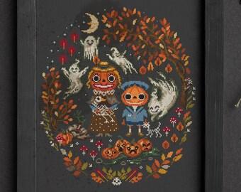 Pumpkin, Skeleton, Zombie, Ghost, cross stitch pattern, Halloween color chart, Spooky Creepy Horror embroidery sample, Folk Art