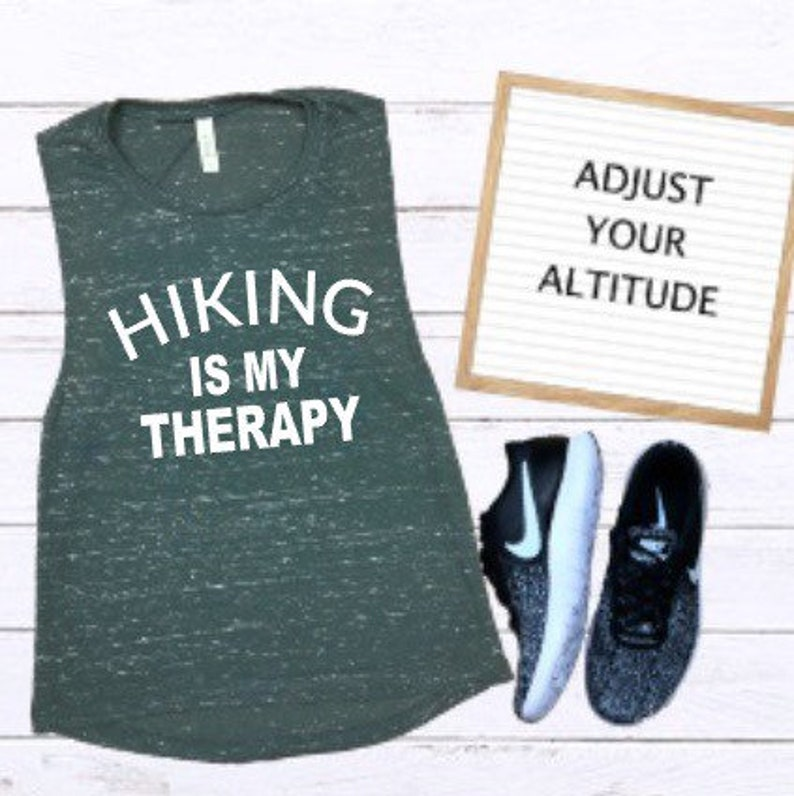 Hiking is my Therapy Women\u2019s Muscle Tank