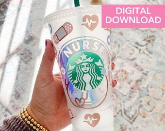 Nurse Fuel Starbucks Cold Cup SVG | Nurse Fuel Starbucks digital download | Nurse Fuel SVG DIY for Silhouette Cameo & Cricut