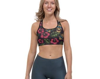 Floral Sports Bra for Yoga, Running, Fitness, Medium Impact Sports Bra with Custom Tropical Flower and Pineapple Skull Print