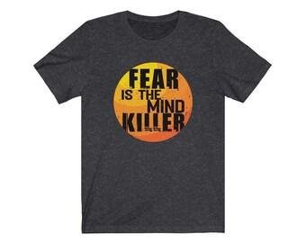 Fear is the Mind Killer Vintage Sunset Tee, Sci-Fi Geek Shirt, Workout Clothes for Men, Gym Motivation Shirt