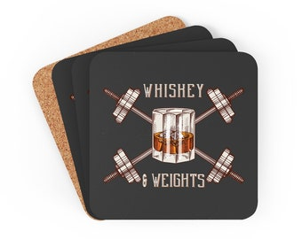 Gym Coasters for Weightlifters and Bodybuilders, Square Barbell Drink Coasters, Fitness Party Favors, Christmas Gift for Coach