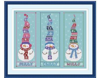 Bookmark Snowman  Cross Stitch Pattern Christmas Digital Instant Download  PDF Needlepoint Pattern Embroidery Chart DMC X-stitch