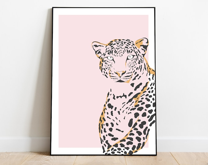 Modern Wall Art Wall Art Leopard Print Pink Wild Bright and Bold Gifts for her Safari
