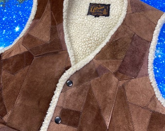 Southwestern Genuine Leather Waistcoat Vintage Patchwork Suede Cowgirl Vest Large L
