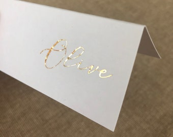 Personalised Silver and Grey Fairy Lights Foil Wedding Folded Place Cards Midnight FOILED