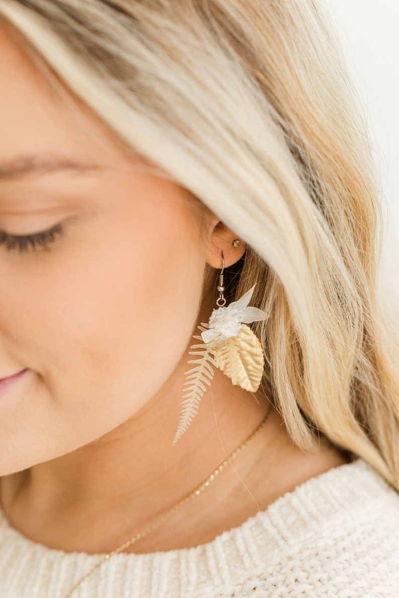 Boho Jewelry Preserved Florals Dangle Earrings Clear Quartz Earrings Clear Quartz Floral Earrings Crystal Earrings