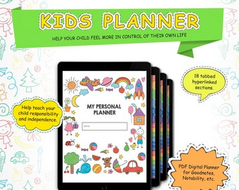 Digital Planner for kids, kids first planner. Kids iPad planner with stickers. Digital notebook for kids, Goodnotes planner, Notability