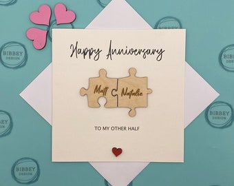 Personalised Anniversary Card - Jigsaw card, card for her, card for him, wife, husband, boyfriend, girlfriend, 5 year wooden anniversary